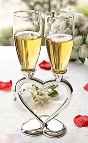 Silver Plated Interlocking Heart Stems with Glass Flutes