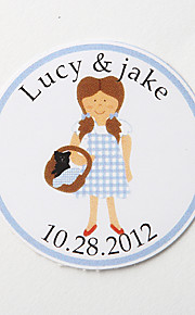 Personalized Round Favor Stickers – Girl (Set of 36)