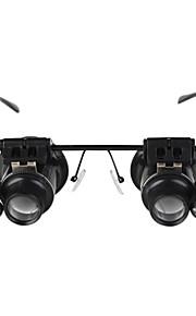 briller skrive 20x lup med hvidt LED lys