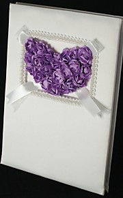 Lilac Rose Heart Guest Book with Tri-Fold Blank Pages
