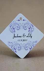 Personalized Rhombus Favor Tag - Purple Floral (Set of 30)