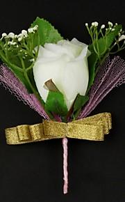 Fleurs de mariage Forme libre Pivoines Boutonnières Mariage Satin / Coton Blanc