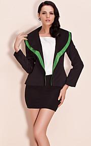 Damen Einfarbig Blazer Langarm Schwarz Polyester