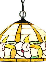 60W 1 - Licht Tiffany Pendent Light mit Glasschirm in Blümchenmuster