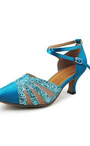 Women's Satin / Sparkling Glitter Ankle Strap Glitter Modern / Ballroom Dance Shoes (More Colors)