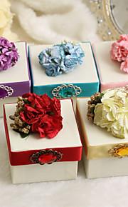 boîtes de faveur classiques avec fleur et ruban - Lot de 12 (plus de couleurs)