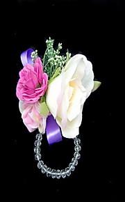 Satin Belle / Coton Avec Crystal forme libre de corsage de poignet de mariage