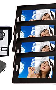 Draadloze Night Vision Camera met 7 inch deurtelefoon Monitor (1camera 4 monitoren)