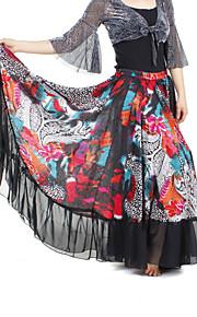dancewear chiffon met print prestaties buik rok voor dames