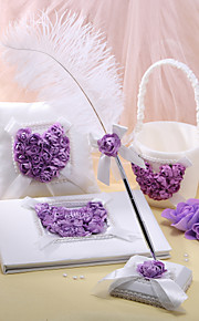 4 Collection Set White / Lilac Guest Book / Pen Set / Ring Pillow / Flower Basket