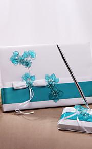 Thème floral-Livre d'or / Stylo(enSatin, avecNœud papillon Rouge / Bleu 21cm x 16cm