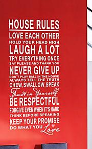 mots et citations murales règles autocollants de maison de décalcomanies murales lavables