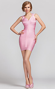 TS Couture Cocktail Party Dress - Candy Pink Petite Sheath/Column V-neck Short/Mini Rayon