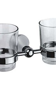 Contemporary Style Chrome Finish Brass Double Cup Toothbrush Holder