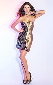 Cocktail Party/Holiday Dress Sheath/Column Sweetheart/Spaghetti Straps Short/Mini Taffeta/Sequined