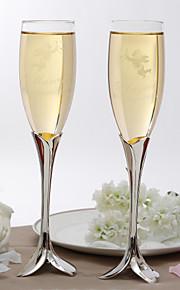 Personalized Elegant Petal Design Stem Toasting Flutes