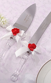 Serving Sets Wedding Cake Knife Personalized Red Rose & White Satin  Cake Serving Set