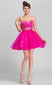 Homecoming Cocktail Party/Homecoming/Wedding Party/Prom/Sweet 16 Dress - Fuchsia A-line/Ball Gown Strapless/Sweetheart Short/Mini Tulle/Matte Satin