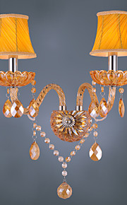Artisitc Vegglampe med to Fabric Shades to Lights Amber Crystal lysekrone Feature