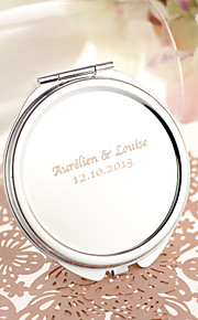 Personalized Round Stainless Steel Compact Mirror Favor
