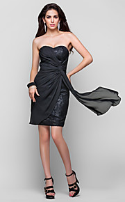 Cocktail Party Dress - Black Plus Sizes Sheath/Column Straps/Sweetheart Short/Mini Chiffon/Lace