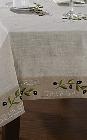 Classic White Linen Olive Branch Table Cloths