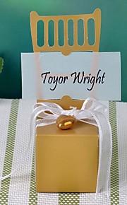 gouden miniatuur stoel voor box met hart charme en lint (set van 12)