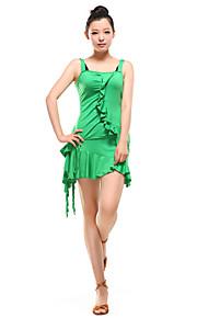 Latin Dance Outfits Women's Training Viscose Ruffles Black / Dark Purple / Green / Red Latin Dance / Ballroom Spring, Fall, Winter, Summer