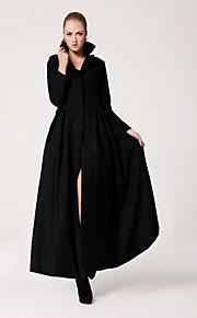 Frauen Einfachheit schmal geschnitten Schaukel Reverskragen Mantel