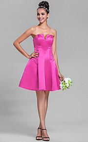 Knee-length Satin Bridesmaid Dress - Fuchsia Plus Sizes A-line V-neck