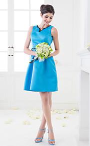Short/Mini Satin Bridesmaid Dress - Pool Plus Sizes A-line V-neck