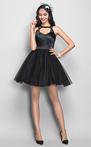 Homecoming Cocktail Party/Homecoming Dress - Black Plus Sizes A-line Straps Short/Mini Stretch Satin/Tulle