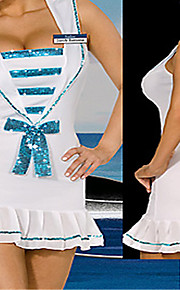 Sweet Girl White and Blue Polyester Naval Uniform