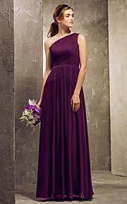 Lanting Floor-length Chiffon Bridesmaid Dress - Grape Plus Sizes / Petite Sheath/Column One Shoulder
