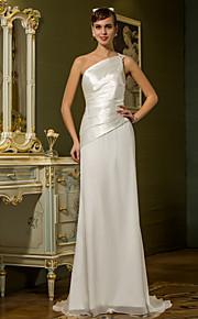 lanting vaina / columna más el tamaño de vestido de novia - marfil barrido / cepillo tren una gasa del hombro / del satén del estiramiento