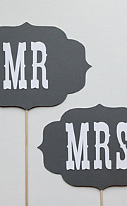 bryllup indretning mr&mrs vintage banner photo booth rekvisitter party dekoration (string ikke inkluderet)