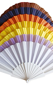Solid Color Polypropylene Fiber Hand Fan - Set of 4 (More Colors)