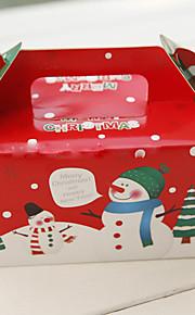 Red Christmas Snowman Cupcake Favor Box - Set of 12