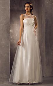 Lanting una línea más el tamaño de vestido de novia - palabra de longitud tul marfil cucharada