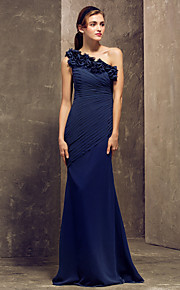 Lanting Floor-length Georgette Bridesmaid Dress - Dark Navy Plus Sizes / Petite Sheath/Column One Shoulder