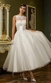 Lanting princesa pequeña / más el tamaño de vestido de novia - hasta los tobillos tul marfil joya