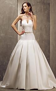 Lanting Bride® Corte en A Tallas pequeñas / Tallas Grandes Vestido de Boda - Elegante y Lujoso / Glamouroso Larga Sin Tirantes Satén con