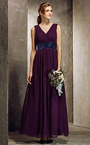 Ankle-length Georgette Bridesmaid Dress - Grape Plus Sizes Sheath/Column V-neck