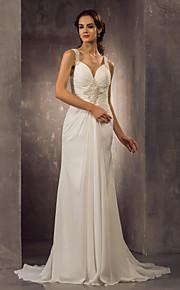 lanting vaina / columna más el tamaño de vestido de novia - marfil barrido / cepillo de la gasa de las correas de tren