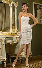 lanting vaina / columna más vestido de novia tamaños - Mini marfil de encaje a corto / novia