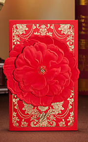 Floral Gold Pattern Wedding Invitation With Red Flower - Set of 50