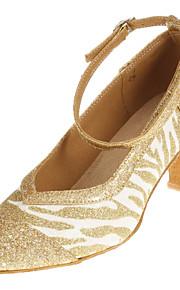 Superbe mousseux de femmes Glitter Upper Zebra Stripe boucle cheville chuncky Les Sandales talon de danse