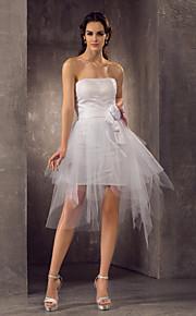 lanting vaina / columna más vestido de novia tamaños - blanco mini corto de tul / tirantes