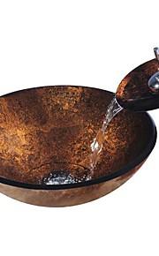 Antico T12mm×Φ420×H145 Tondo Materiale del dissipatore è Vetro temperatoLavandino bagno / Rubinetto per bagno / Anello di montaggio per