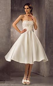 Lanting una línea de vestido de novia tallas grandes - el té de longitud de marfil de satén sin tirantes / cordón